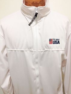 USA Olympics Committee White Zip-Front Warm-Up Team Jacket Mens XL Made in USA #UnitedStatesOlympicCommittee #USAOlympicsTeam