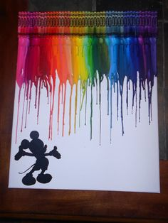 Mickey Mouse Melted Crayon Art by OnceUponACrayon on Etsy, $35.00