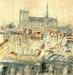 NOTRE DAME PARIS French Wall Art/ Parisian Rooftops/ Signed Limited Edition Art Print from watercolour painting / Clare Caulfield