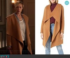 Bonnie's beige wrap hooded coat on How to Get Away with Murder Liza Weil, How To Get Away, Wool Coat, King Outfit, Studded Heels, Beige, Grey, Costume Design, Crystal Necklace