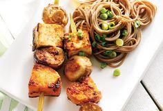 Brochettes de tofu et de légumes glacés au miso #recette