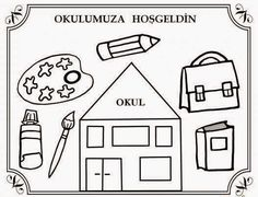 Okul Bahçesi: İlköğretim Haftası * Boyama First Day Activities, First Day School, School Colors, Primary School, Early Childhood, Playground, Coloring Pages, Kindergarten, Preschool