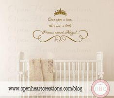 Princess Wall Decals - Personalized Baby Girl Name with Tiara and Accent - Vinyl Lettering for Baby Nursery 22h x 36w BA0019 on Etsy, $45.00