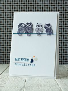 Handmade birthday card featuring owls. Nice, clean, minimal style.