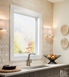 "Coco 6"" in T04 Parchment by Red Rock Tileworks; love this tile for a powder room."