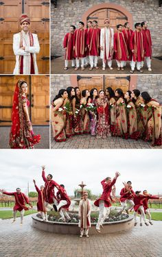 Love the color combo beige red saris #bridesmaids  Shaadi Belles : Search, Save, & Share your South Asian Inspiration