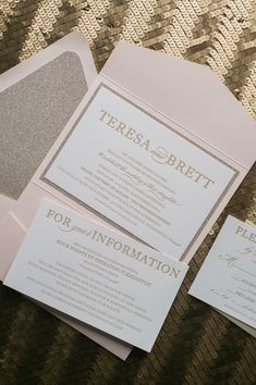 Fabulous Blush and Gold Glitter Modern Wedding Invitations. ALYSSA Glitter Pocket Folder Collection by Just Invite Me
