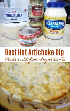 Best Hot Artichoke Dip Recipe The Best Hot Artichoke Dip Recipe!, this dip gets devoured! The Best Hot Artichoke Dip Recipe!, this dip gets devoured! Hot Artichoke Dip, Artichoke Recipes, Marinated Artichoke Dip Recipe, Artichoke Parmesan Dip, Artichoke Hearts, Healthy Appetizers Dips, Appetizer Dips, Easy To Make Appetizers, Desserts