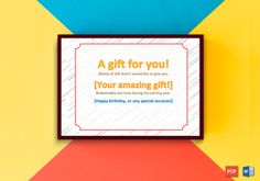 Gift Card Template Word New 44 Free Printable Gift Certificate Templates for Word & Pdf Blank Gift Certificate, Free Printable Gift Certificates, Certificate Templates, Printable Cards, Free Printables, Hapoy Birthday, Gift Card Template, Business Gifts, Art Lesson Plans