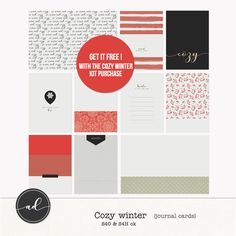 Cosy winter journal cards by Ange Designs - *FREE* with any Cosy winter kit purchase !!