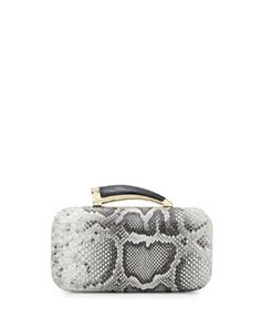 VC Signature Safari Python-Embossed Leather Horn Clutch, Black/White