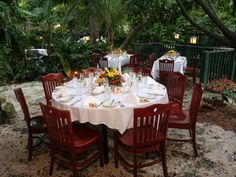 Garden seating at this wedding reception.   The Sundy House