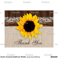 Rustic Country Sunflower Wedding Thank You