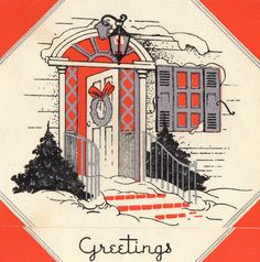 Vintage Christmas Card ART DECO OPEN DOOR Welcome w/ SILVER Mid Century Greeting