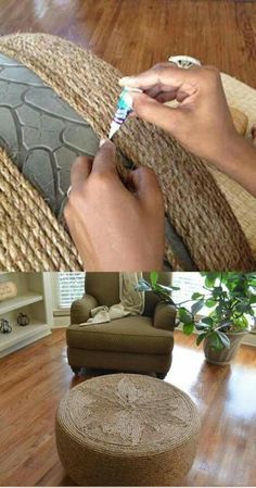 Old tire wrapped in twine to make an Ottoman!! (From Coyntry Living)