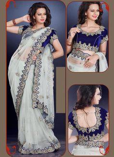 Strange Net Off White Designer Saree