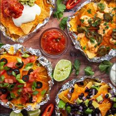 These individual nachos are fully customizable, easy to make and totally delicious! #nachos #nacho #tortillachips | www.somethingaboutsandwiches.com Sandwich Sides, Foil Packets, Tortilla Chips, Nachos, Bruschetta, Sandwiches, Ethnic Recipes, Easy, Food
