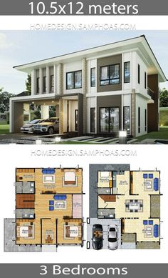 Sims 3 Modern House Ideas Luxury House Plans Idea 10 with 3 Bedrooms 2020 Country House Plans, Small House Plans, Small House Design, Modern House Design, Mansion Plans, Three Bedroom House Plan, Duplex Design, Architectural House Plans, Model House Plan