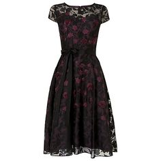 Buy Phase Eight Suri Embroidered Dress, Black/Blackcurrant Online at johnlewis.com