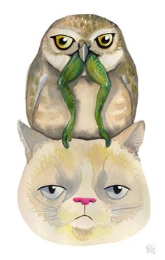 grumpy Cat with Owl By Elli Maanpää 2013