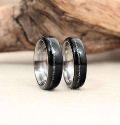 Pair of Titanium Lined Wooden Rings With Stone by WedgewoodRings - these are the rings we are thinking of getting