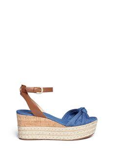 MICHAEL KORS 'Maxwell' Denim Cork Wedge Espadrille Platform Sandals. #michaelkors #shoes #sandals