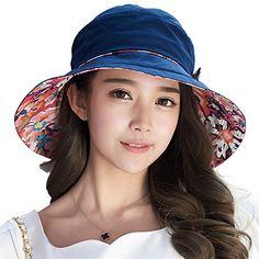 8c8b83d551b Siggi Bucket Boonie Cord Fishing Beach Cap Summer Sun Hat Bowknot Wide Brim  for Women Navy