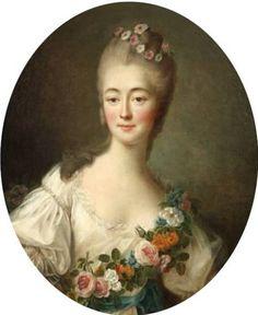 Portrait de Madame Du Barry en Flore par François‐Hubert Drouais - Jeanne Bécu de Cantigny, dite Mademoiselle de Vaubernier, devenue par son mariage comtesse du Barry, née le 19 août 1743 à Vaucouleurs en Lorraine et guillotinée à Paris le 8 décembre 1793, fut la dernière favorite du roi Louis XV. Son origine roturière et sa jeunesse agitée suscitèrent des pamphlets injurieux et même orduriers.