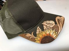 These are name brand caps with hand tooled leather brim toppers securely attached. Cowgirl Hats, Cowgirl Outfits, Cowgirl Style, Western Outfits, Western Wear, Leather Hats, Leather Tooling, Leather Craft, Tooled Leather