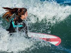 Waves surf longboard girl sea