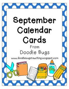 September Back to School Calendar Cards * FREE *