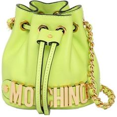 215fa89ab4 MOSCHINO Mini Leather Bucket Bag - Lime Green Μοδάτες Τσάντες