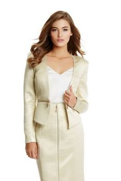 Gold Trullie Jacquard Zip Detail Jacket Blazer    GUESS by Marciano $160