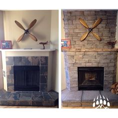 Thanks to @rym0re for these before & after pics of his #fireplace with our Frontier Ledge (color: Banff). Nice work! www.KodiakMountain.com #calgary #diy #beforeandafter #masonry #stonework #interiordesign Manufactured Stone, Before And After Pictures, Stone Work, Alberta Canada, Banff, Calgary, Brick, Mountain, Living Room