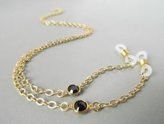 Gold Eyeglass Chain with Black Swarovski Crystals by HalfSnow