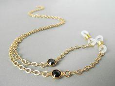 Gold Eyeglass Chain with Black Swarovski Crystals by HalfSnow