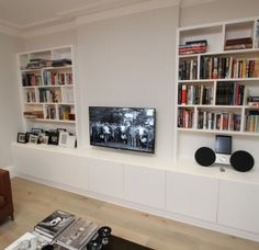 Awesome 88 Perfect Closets Wall Ideas From Scratch For Your Home. Living Room Built In Wall Units, Living Room Storage, Living Room Tv, Cosy Lounge, Lounge Decor, Lounge Ideas, Media Wall Unit, Tv Shelving, Media Furniture