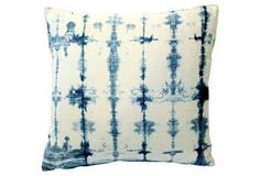 Shibori indigo hand-dyed hemp pillow.