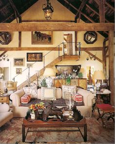 Iron railing, light hunting lodge feel