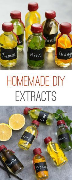 Homemade DIY Extracts. Easy to make your own at home and fun to gift! Make several and give as a variety pack to a friend who likes to bake.