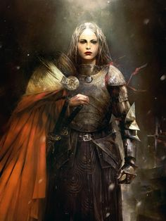 Ages of Blood.  Woman in heavy armor.  She looks like a leader, perhaps a General or even Warrior Queen.  Art by Simon Goinard.  https://www.artstation.com/artwork/QrW6L
