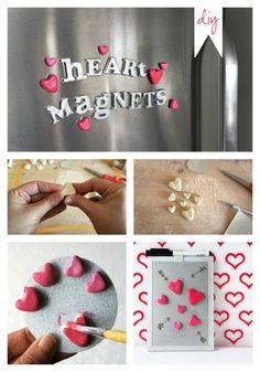 DIY Heart Magnets for Valentines Day....17 Last Minute Handmade Valentine Gifts for Him. Surprise!! #diyHandmadeValentineGiftsforHim