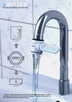 Meu pai iria adorar...  É uma torneira que mostra quantos litros de água você está gastando, ou, se preferir, quanto dinheiro está mandando embora pelo ralo, em moeda corrente mesmo.