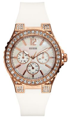 Good luxury gift: Guess Overdrive Glam Analog Watch - For Women (White). Sport Watches, Cool Watches, Guess Watches, Wrist Watches, Ladies Watches, Women's Watches, Luxury Watches, Or Rose, Rose Gold