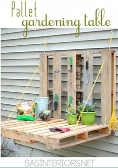 DIY Pallet Gardening Table | #diy #pallet #garden #table #worktable #work #pallet #wood #reuse #recycle #workstation