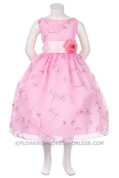 Flower Girl Dress Style KK_1040P- Embroidered Organza Dress with Sequin Detailing