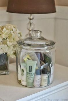 jar of samples in the guest room for your visitors to use....nice idea. I get so many beauty samples.: