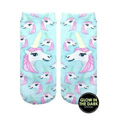 Unicorns- Glow in the Dark Socks, clothing style fashion blue teal light cute gift ideas
