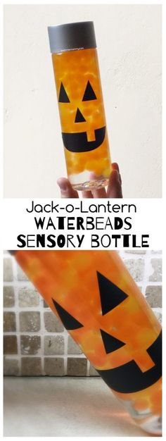 Waterbeads Jack-o-Lantern Sensory Bottle - Teach Me Mommy Halloween Activities For Toddlers, Toddler Halloween, Halloween Crafts For Kids, Autumn Activities, Sensory Activities, Halloween Themes, Toddler Activities, Halloween Fun, Sensory Play