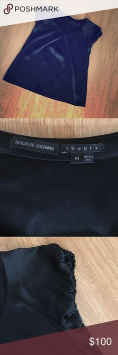 👚✨Black Blouse by Theory✨👚 Stunning black blouse by Theory for Bergdorf Goodman. Size Medium. Fabulous, flirtatious, and flattering... Looks amazing with slacks as a work outfit and sexy with skinny jeans, heels, and a statement necklace for #girlsnightout! Theory Tops Blouses